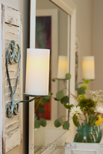 DIY Candle Sconce ~ trash to treasure distressed Shutter Sconces