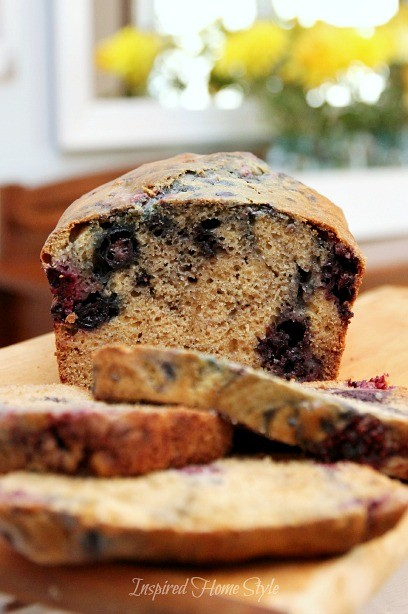 Easy Homemade Triple Berry Breakfast Bread Recipe ~ works great with fresh and frozen berries